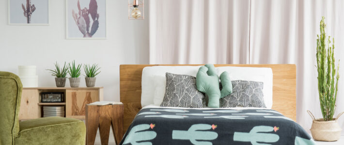 Cactus theme room with wooden and velvet furniture - The Magic Helpers Airbnb Cleaning Services
